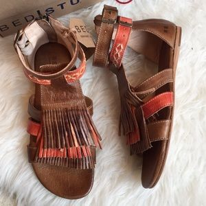 Bed Stu Alena tan and coral sandals